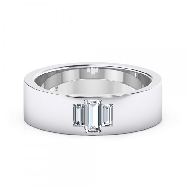 Male Wedding Band 18K White Gold