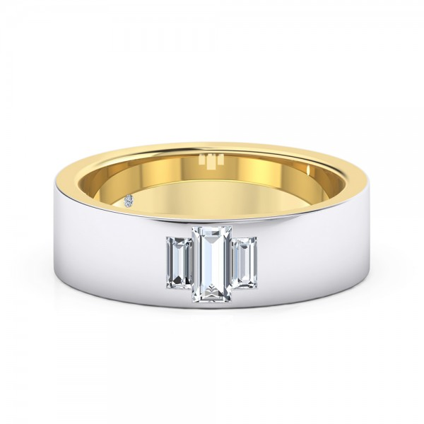 Male Wedding Band 18K White Gold