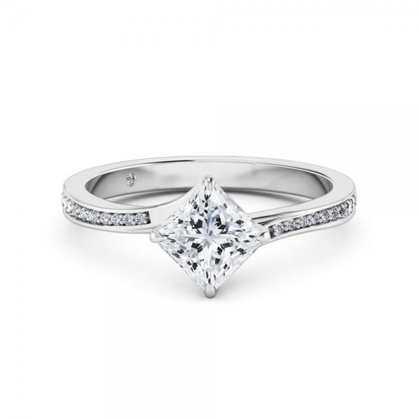 Princess Cut Diamond Band Diamond Engagement Ring 18K White Gold