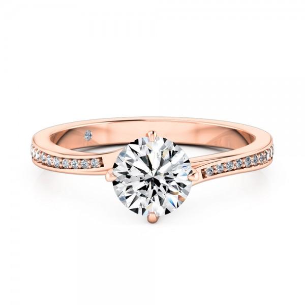 Round Cut Diamond Band Diamond Engagement Ring 18K Rose Gold