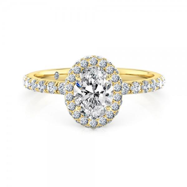 Oval Cut Halo Diamond Engagement Ring 18K Yellow Gold
