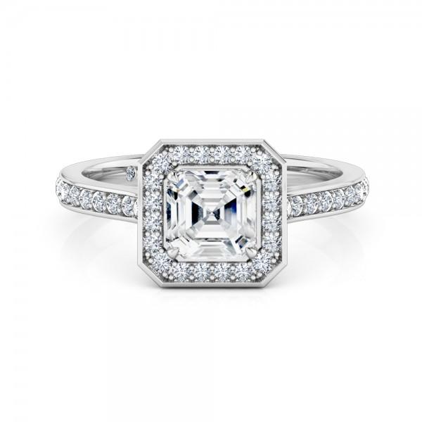 Asscher Cut Halo Diamond Engagement Ring 18K White Gold