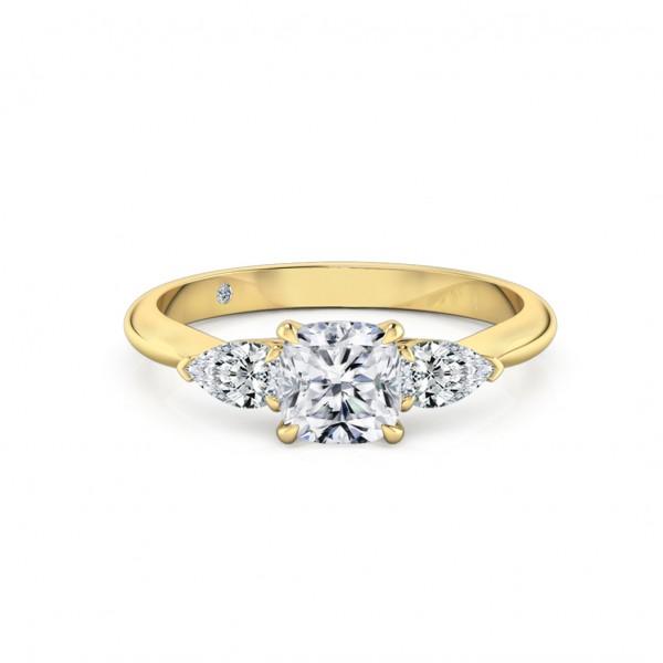 Cushion Cut Trilogy Diamond Engagement Ring 18K Yellow Gold