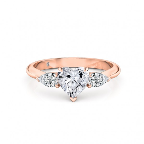 Heart Cut Trilogy Diamond Engagement Ring 18K Rose Gold