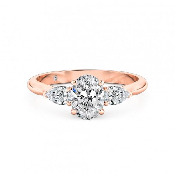 Oval Cut Trilogy Diamond Engagement Ring 18K Rose Gold