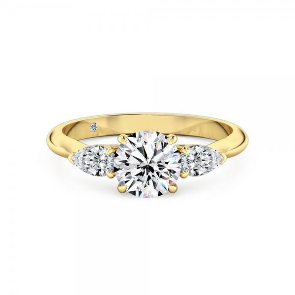 Round Cut Trilogy Diamond Engagement Ring 18K Yellow Gold