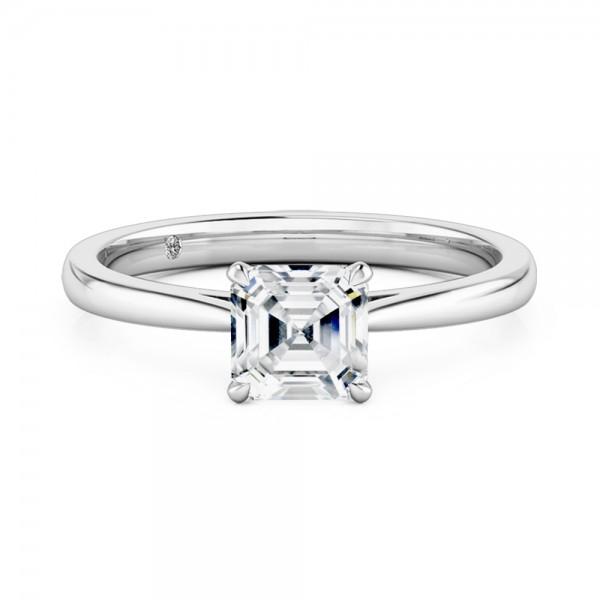 Asscher Cut Solitaire Diamond Engagement Ring 18K White Gold