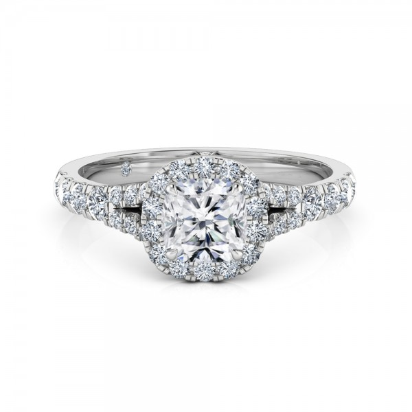 Cushion Cut Halo Diamond Engagement Ring 18K White Gold