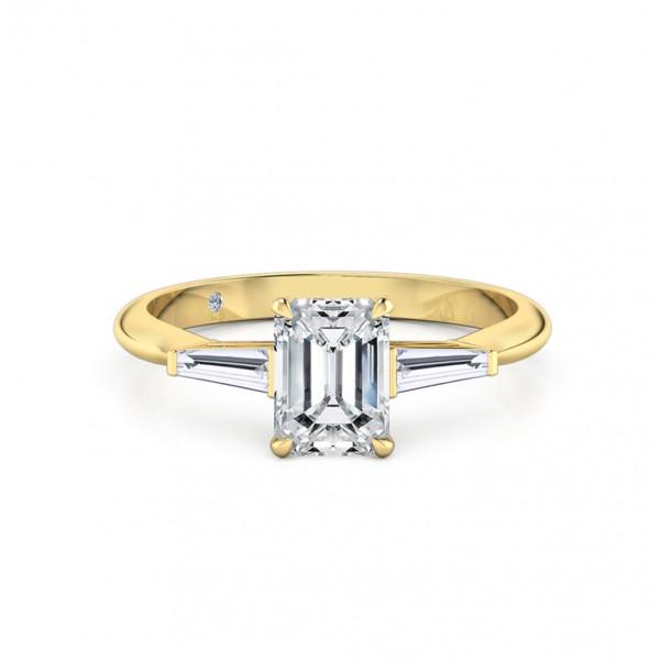 Emerald Cut Trilogy Diamond Engagement Ring 18K Yellow Gold