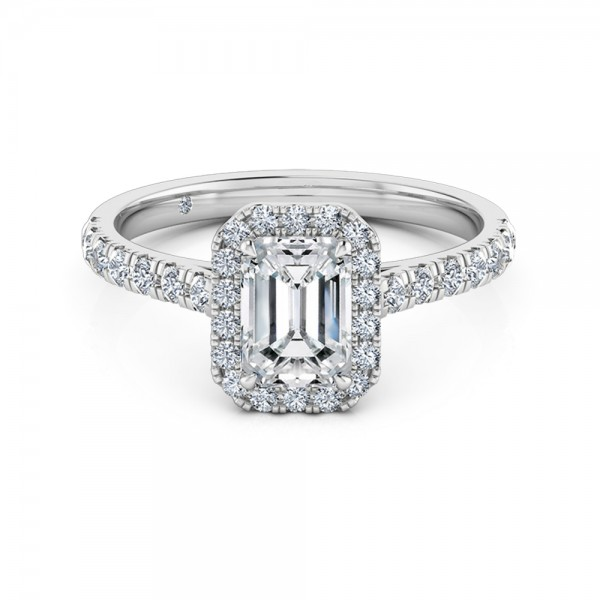 Emerald Cut Halo Diamond Engagement Ring 18K White Gold