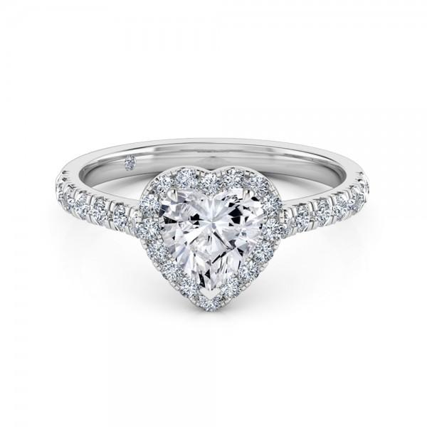 Heart Cut Halo Diamond Engagement Ring 18K White Gold