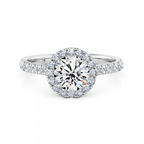 Round Cut Halo Diamond Engagement Ring 18K White Gold