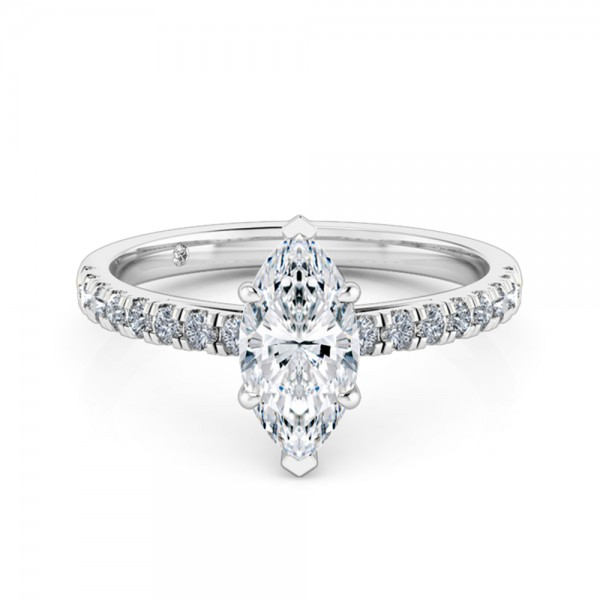 Marquise Cut Diamond Band Diamond Engagement Ring 18K White Gold