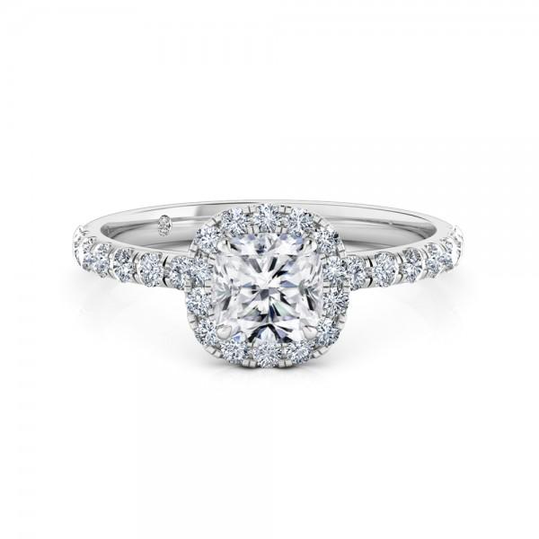 Cushion Cut Halo Diamond Engagement Ring Platinum