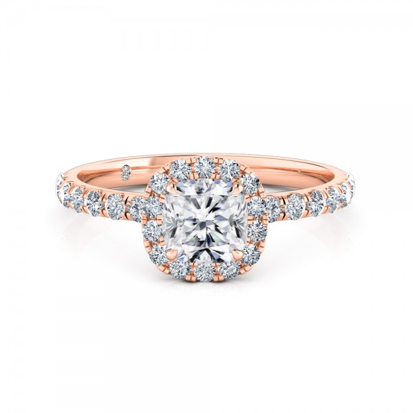 Cushion Cut Halo Diamond Engagement Ring 18K Rose Gold