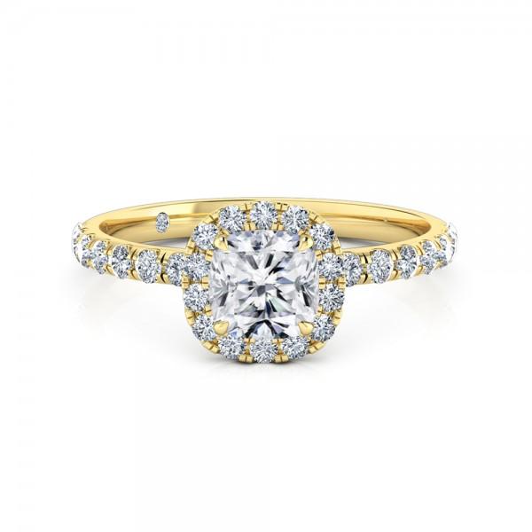 Cushion Cut Halo Diamond Engagement Ring 18K Yellow Gold
