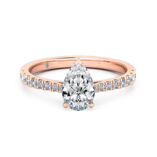 Pear Cut Diamond Band Diamond Engagement Ring 18K Rose Gold