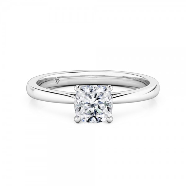 Cushion Cut Solitaire Diamond Engagement Ring 18K White Gold