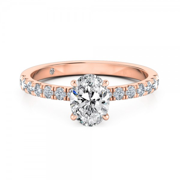 Oval Cut Diamond Band Diamond Engagement Ring 18K Rose Gold