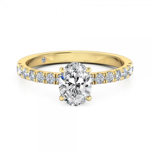 Oval Cut Diamond band Diamond Engagement ring 18K Yellow Gold
