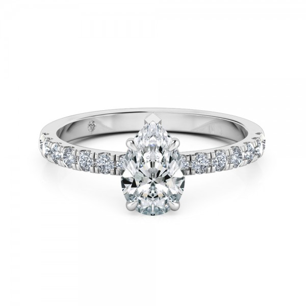 Pear Cut Diamond Band Diamond Engagement Ring Platinum