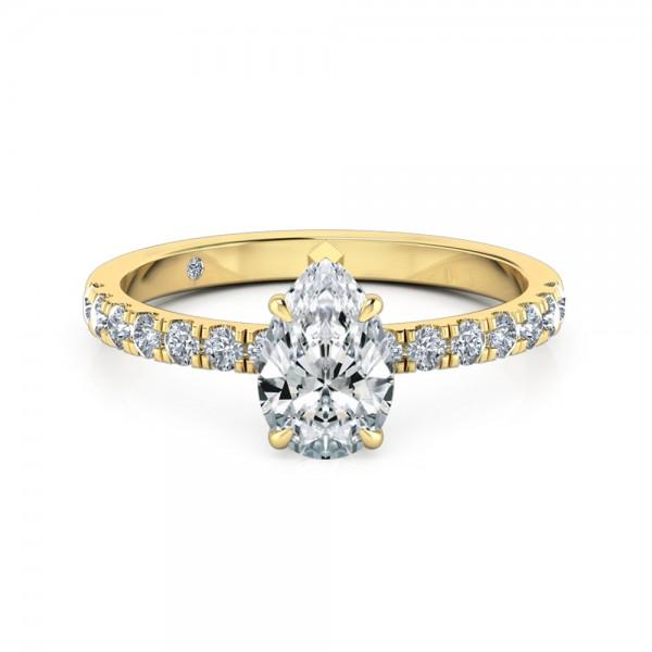 Pear Cut Diamond Band Diamond Engagement Ring 18K Yellow Gold