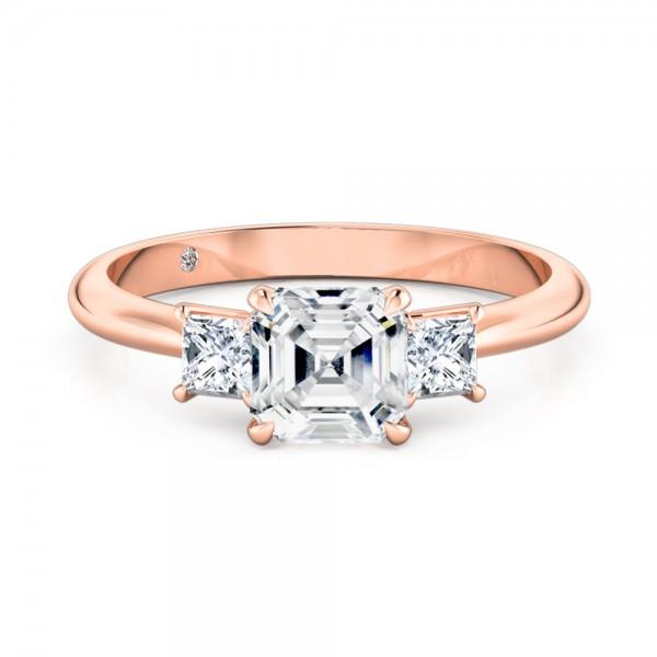 Asscher Cut Trilogy Diamond Engagement ring 18K Rose Gold