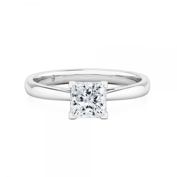 Princess Cut Solitaire Diamond Engagement Ring 18K White Gold