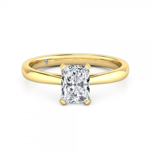 Radiant Cut Solitaire Diamond Engagement Ring 18K Yellow Gold