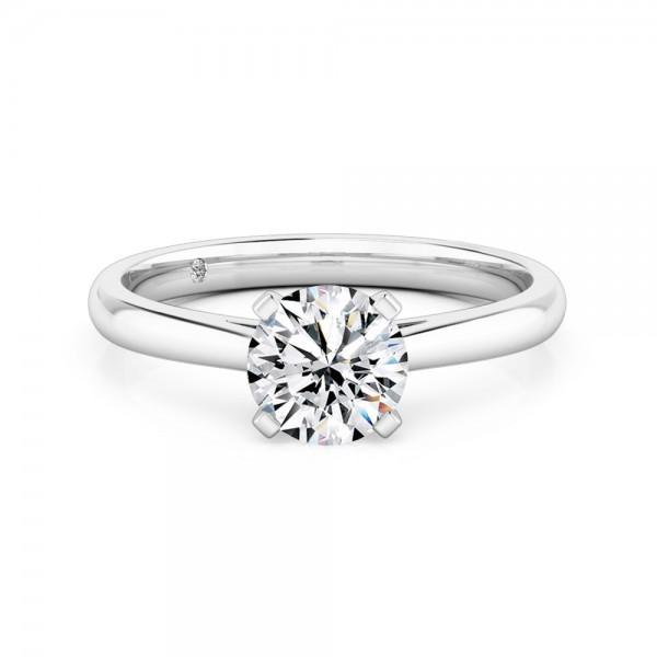 Round Cut Solitaire Diamond Engagement Ring Platinum