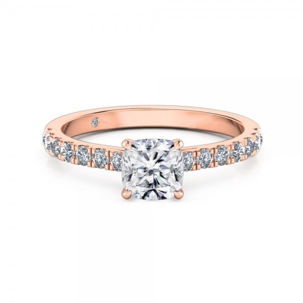 Cushion Cut Diamond Band Diamond Engagement Ring 18K Rose Gold