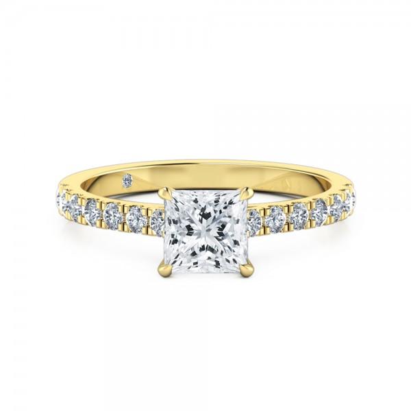 Princess Cut Diamond Band Diamond Engagement Ring 18K Yellow Gold