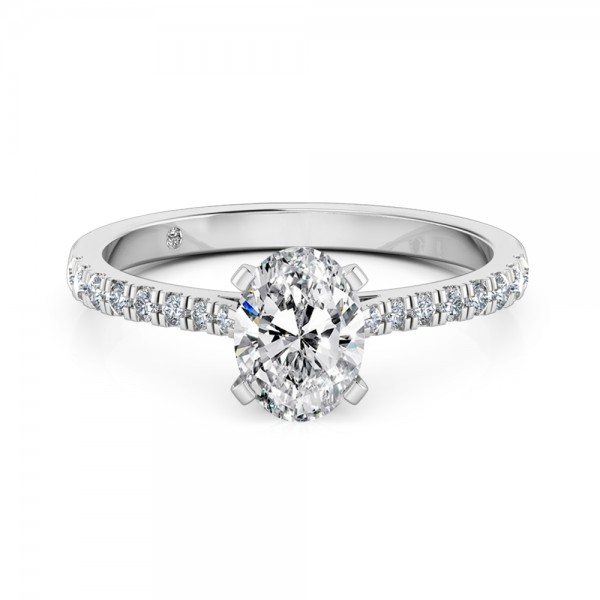 Oval Cut Diamond band Diamond Engagement ring Platinum