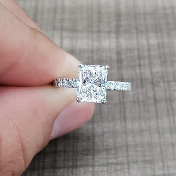 radiant Cut Diamond Engagement Ring 18K white gold