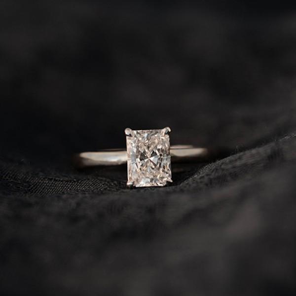 radiant Cut Diamond Engagement Ring platinum
