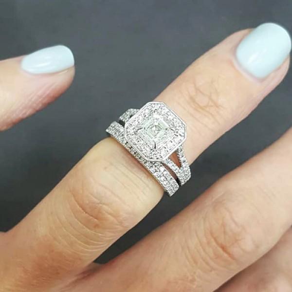 asscher Cut Diamond Engagement Ring 18K yellow gold