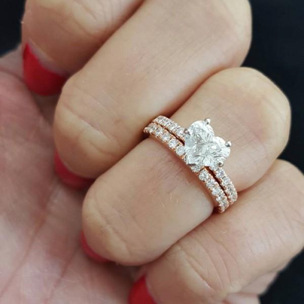heart Cut Diamond Engagement Ring 18k rose gold
