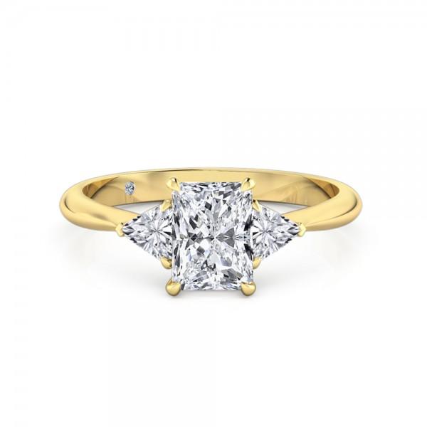 Radiant Cut Trilogy Diamond Engagement Ring 18K Yellow Gold