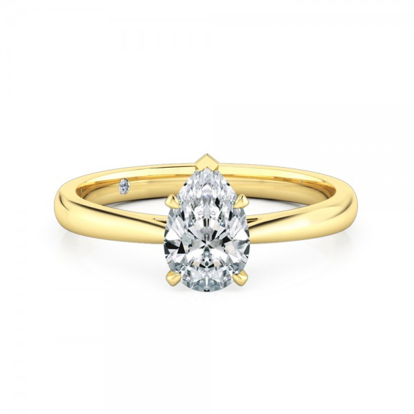 Pear Cut Solitaire Diamond Engagement Ring 18K Yellow Gold