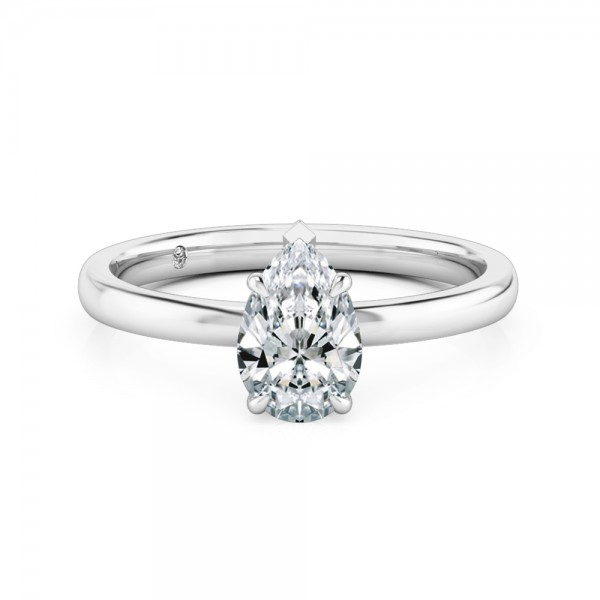 Pear Cut Solitaire Diamond Engagement Ring 18K White Gold